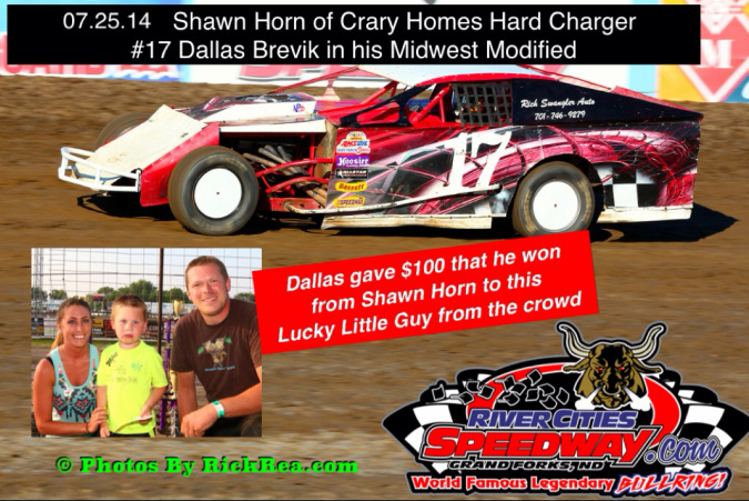 Dallas Brevik Shawn Horn of Crary Homes Hard Charger of the Night at River Cities Speedway