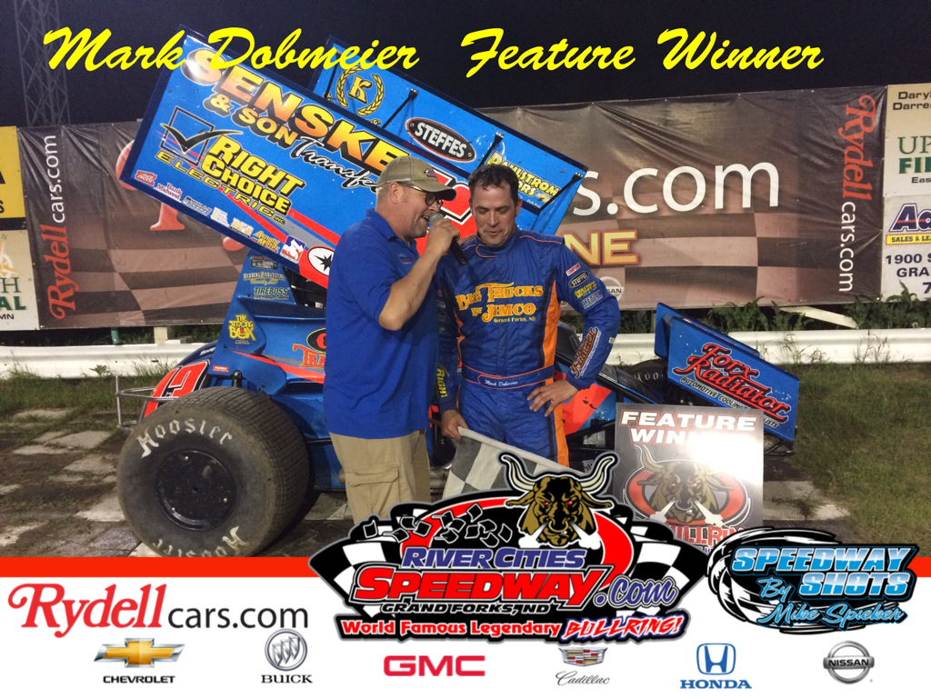 Mark Dobmeier in RydellCars.com Victory Lane at River Cities Speedway   photo by Mike Spieker