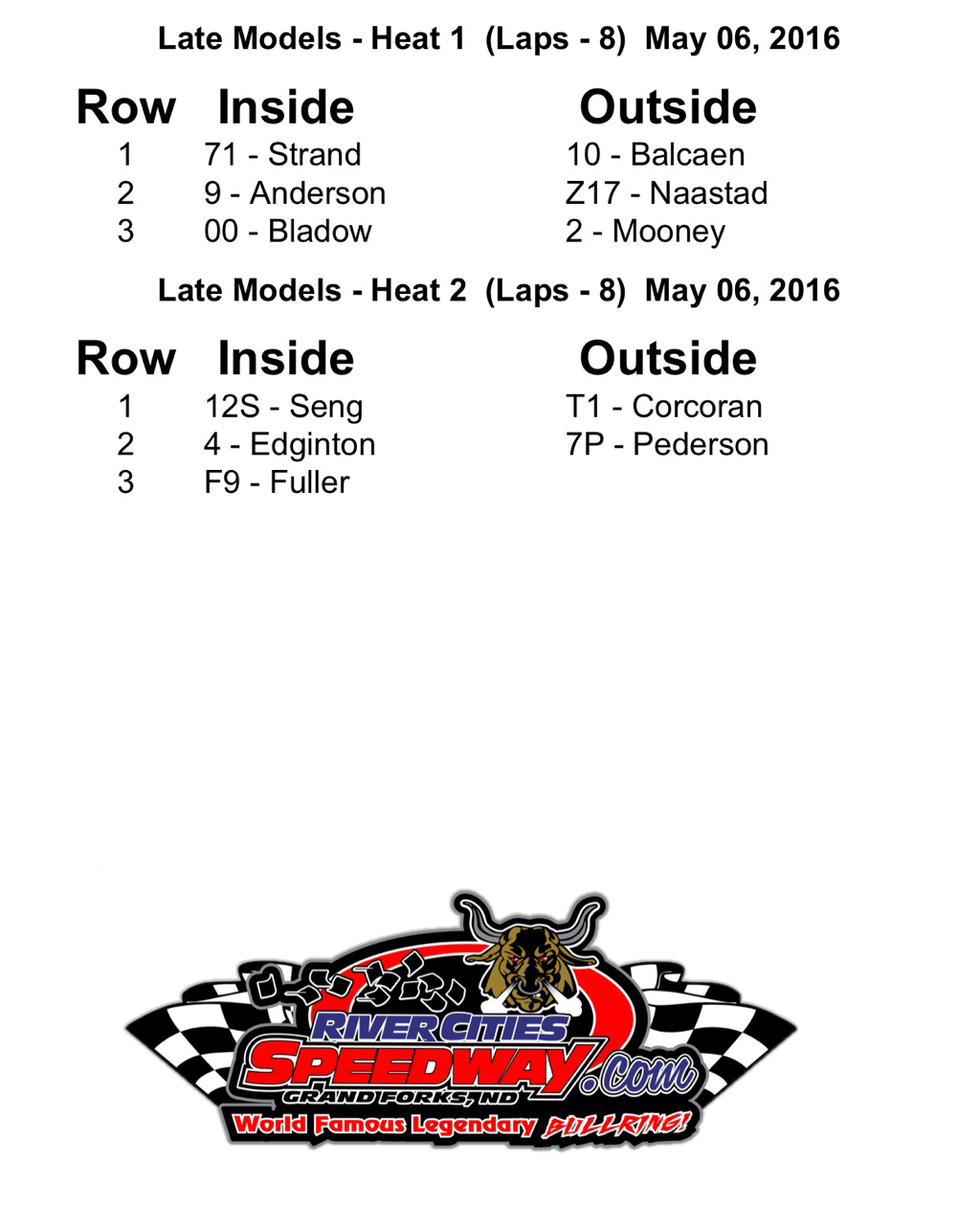 NLRA Late Model Lineups at River Cities Speedway