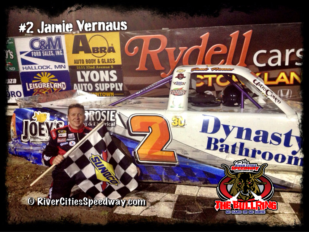 #2 Jamie Vernaus of Manitoba Canada Wins the Sept 14 2012 Super Trucks Feature Event at River Cities Speedway