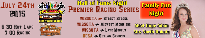 River Cities Speedway Hallof Fame Night - Hope Adam Mrs North Dakota