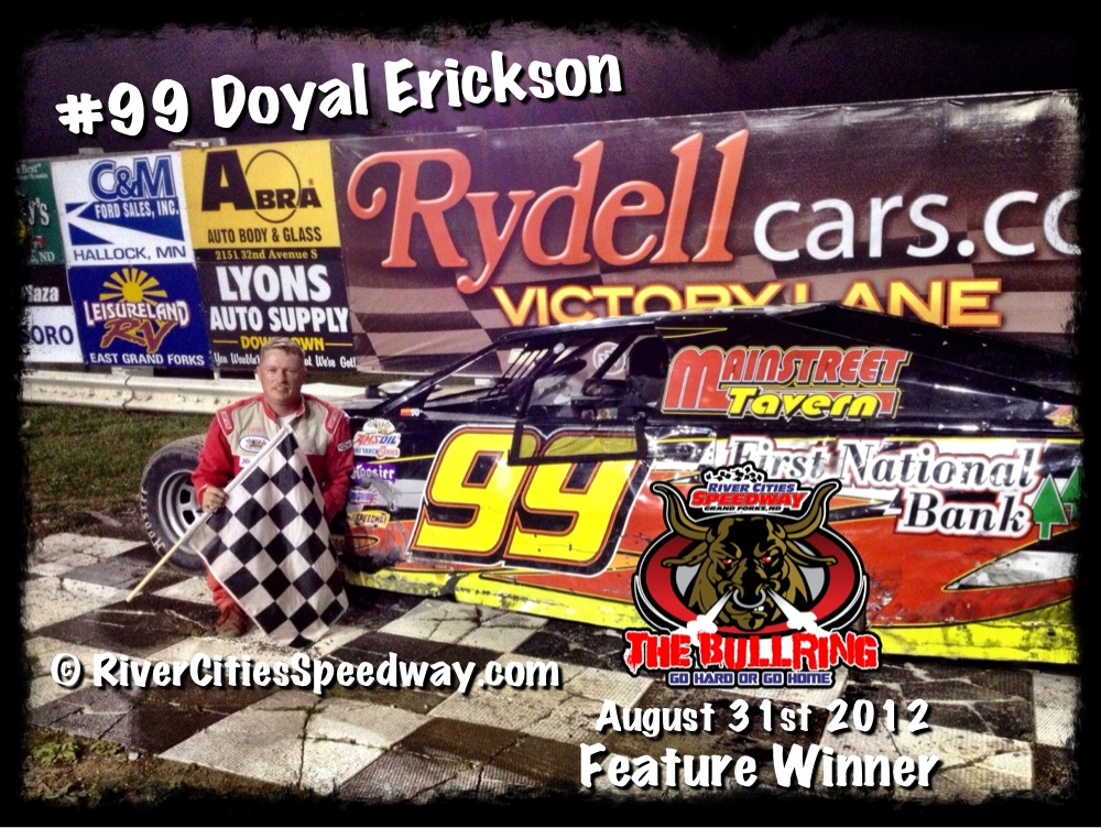 #99 Doyal Erickson River Cities Speedway Midwest Mod Feature Winner August 31st 2012