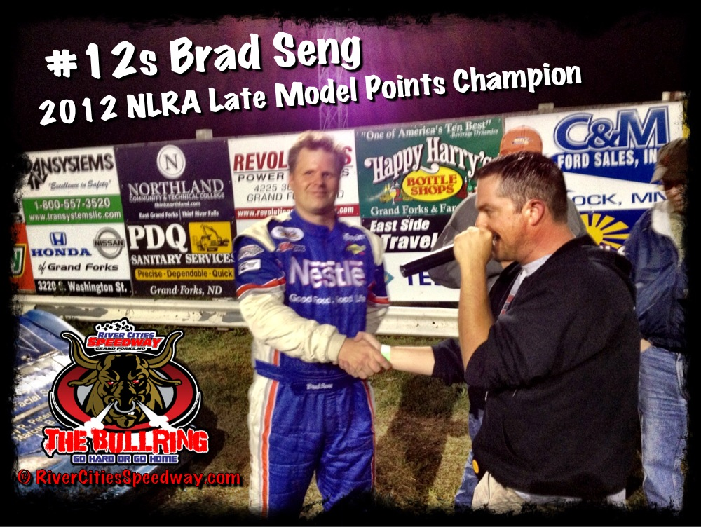 #12s Brad Seng Honored for Winning 2012 NLRA Championship at River Cities Speedway - Photo By Darren Evavold
