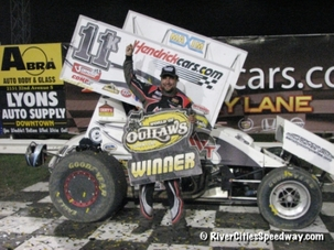 Kraig Kinser Victory Lane Photo at River Cities Speedway
