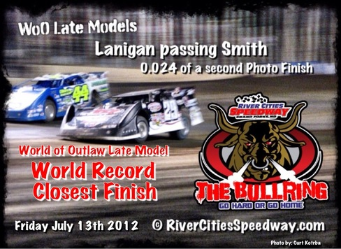 River Cities Speedway - Lanigan passing Smith that set the world record closest finish . Photo by: Curt Kotrba