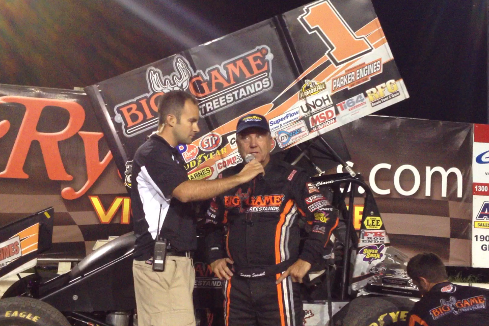 Sammy Swindell doing his post race interview at River Cities Speedway