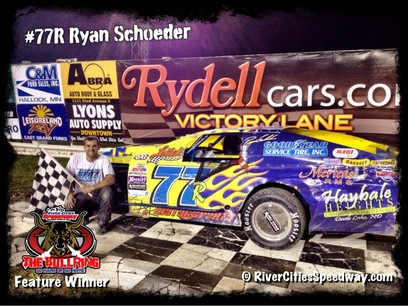 #77R Ryan Schroeder of Devils Lake ND RCS Feature Winner 8-10-12 River Cities Speedwau
