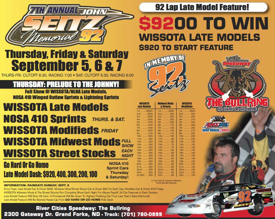 7th Annual John Seitz Memorial 92 lap late Model race