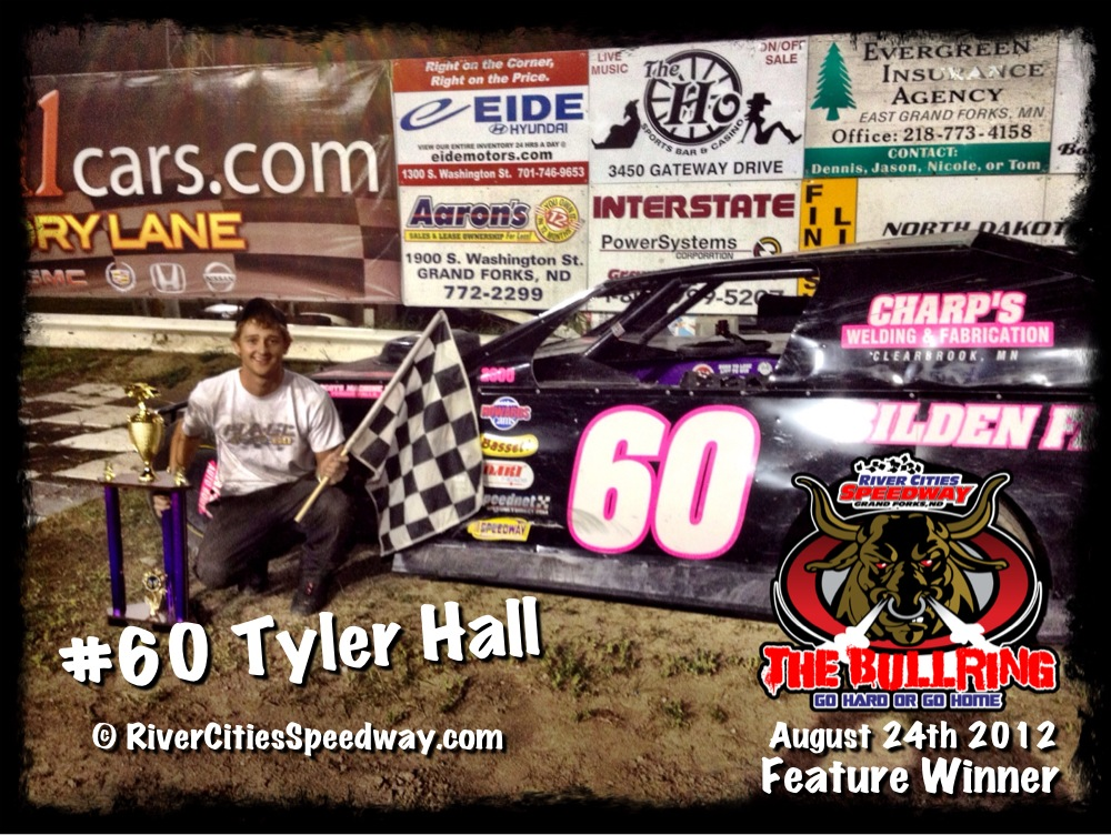 #60 Tyler Hall River Cities Speedway Midwest Mod Feature Winner August 24th 2012