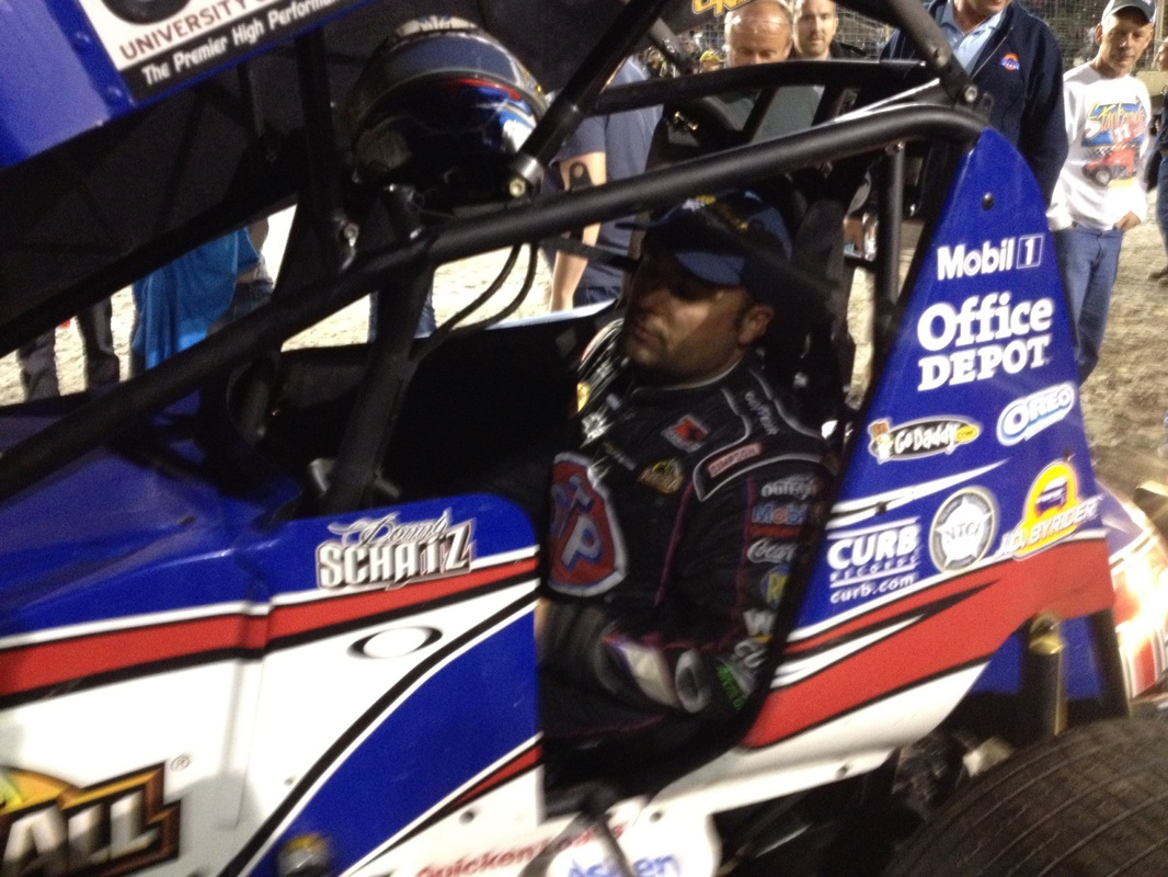 #15 Donny Schatz 4 time World of Outlaw Champion from Fargo ND on the way to the pits