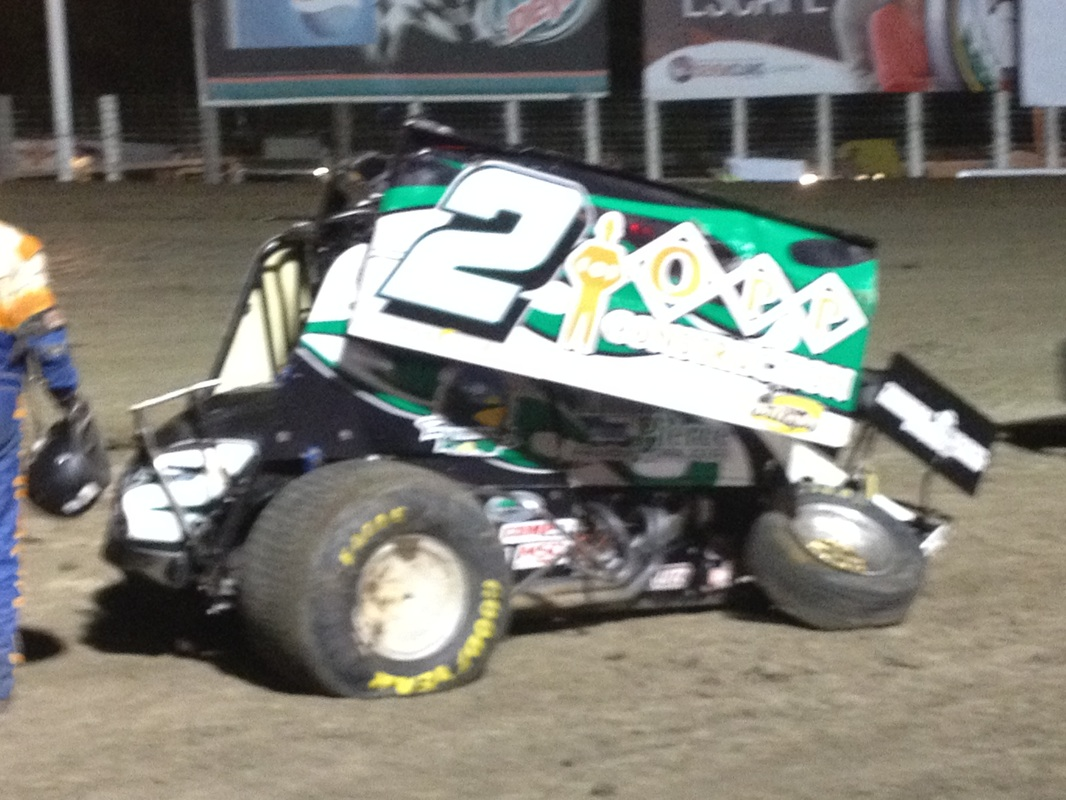 Austin Pierce 410 Outlaw Sprint after 1st Lap Mishap - River Cities Speedway