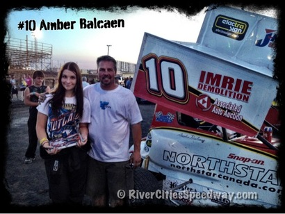 #10 Amber Balcaen with her dad Mike Balcaen - Photo by Rick Rea - River Cities Speedway