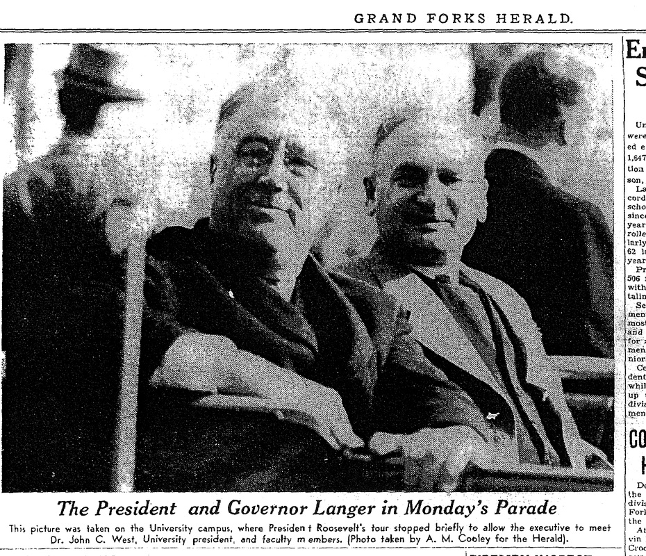 Franklin D. Roosevelt visit grand forks and River Cities Speedway