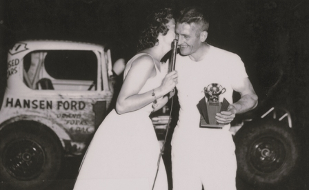 George Swangler and Miss ND Claudia Gullickson at Grand Forks River Cities Speedway