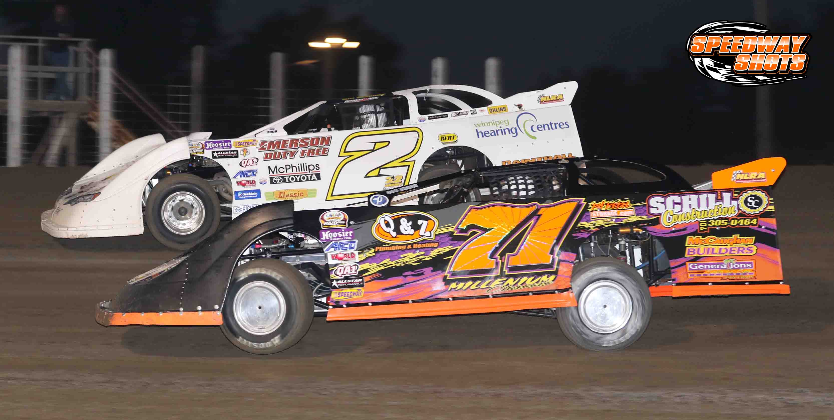 Bill Mooney, Dustin Strand, NLRA Late Models, River Cities Speedway, Speedway Shots, Mike Spieker